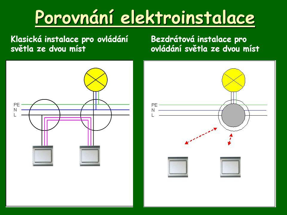 Porovnání elektroinstalace Klasická instalace pro ovládání světla ze dvou míst Bezdrátová instalace pro ovládání světla ze dvou míst