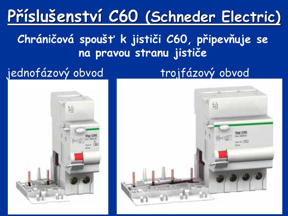 Příslušenství C60 (Schneder Electric) Chráničová spoušť k jističi C60, připevňuje se na pravou stranu jističe jednofázový obvod trojfázový obvod