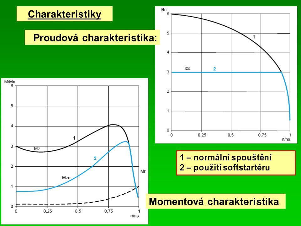 Charakteristiky 1 – normální spouštění 2 – použití softstartéru Proudová charakteristika: Momentová charakteristika