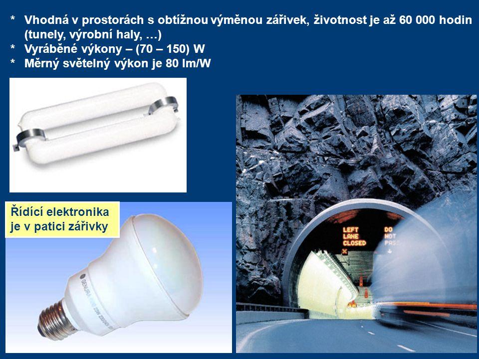 *Vhodná v prostorách s obtížnou výměnou zářivek, životnost je až 60 000 hodin (tunely, výrobní haly, …) *Vyráběné výkony – (70 – 150) W *Měrný světeln