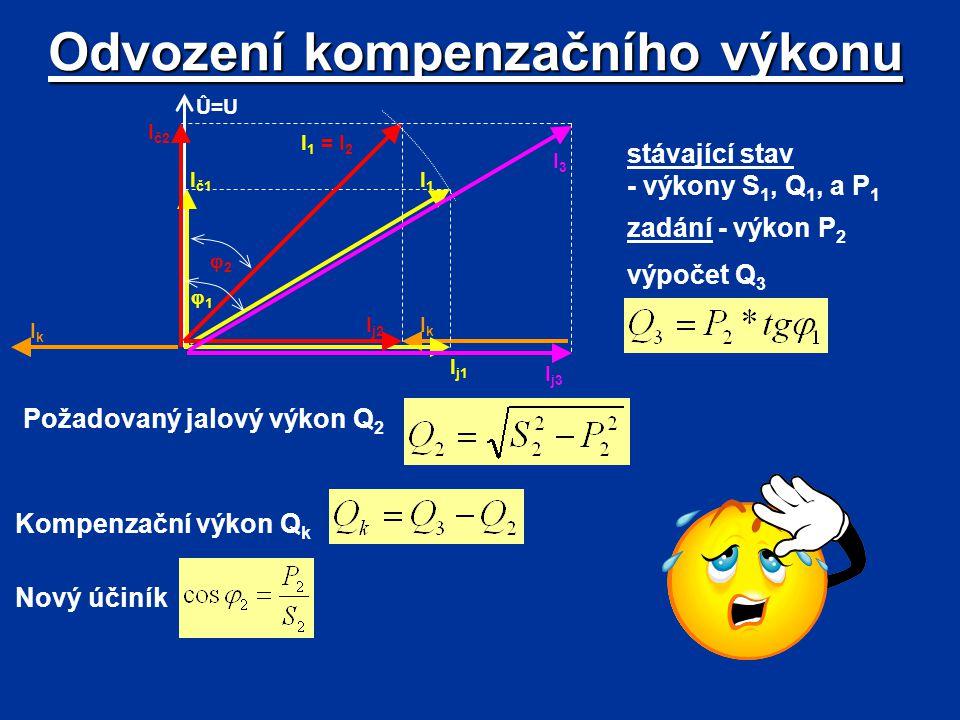 Odvození kompenzačního výkonu stávající stav - výkony S 1, Q 1, a P 1 zadání - výkon P 2 IkIk Û=U I j1 Ič1Ič1 I1I1 I 1 = I 2 11 22 Ič2Ič2 I j2 I3I