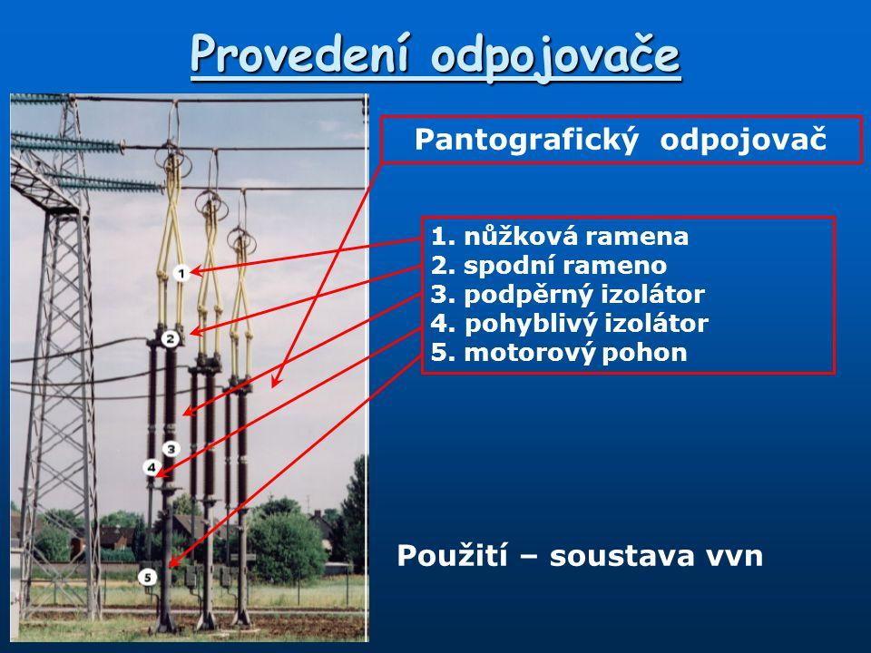 Provedení odpojovače Pantografický odpojovač 1.nůžková ramena 2.spodní rameno 3.podpěrný izolátor 4.