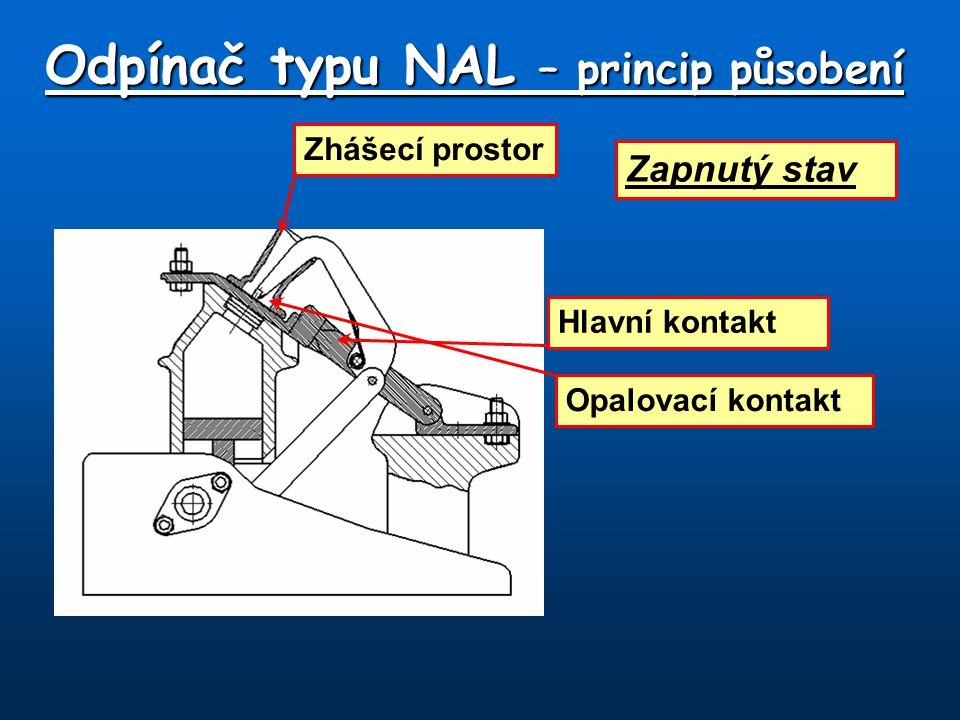 Zapnutý stav Hlavní kontakt Opalovací kontakt Zhášecí prostor Odpínač typu NAL – princip působení