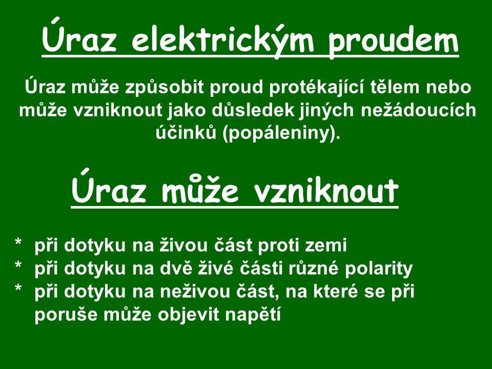 Úraz elektrickým proudem Úraz může způsobit proud protékající tělem nebo může vzniknout jako důsledek jiných nežádoucích účinků (popáleniny).
