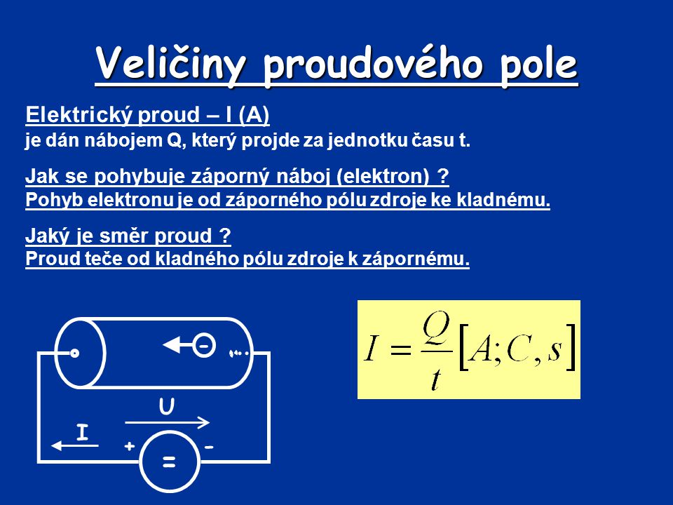Veličiny proudového pole Elektrický proud – I (A) je dán nábojem Q, který projde za jednotku času t. Jak se pohybuje záporný náboj (elektron) ? Pohyb