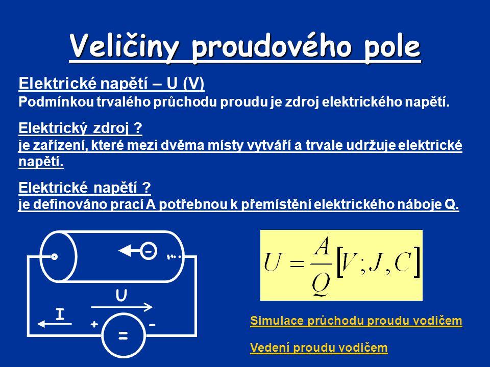 Veličiny proudového pole Elektrické napětí – U (V) Podmínkou trvalého průchodu proudu je zdroj elektrického napětí. Elektrický zdroj ? je zařízení, kt