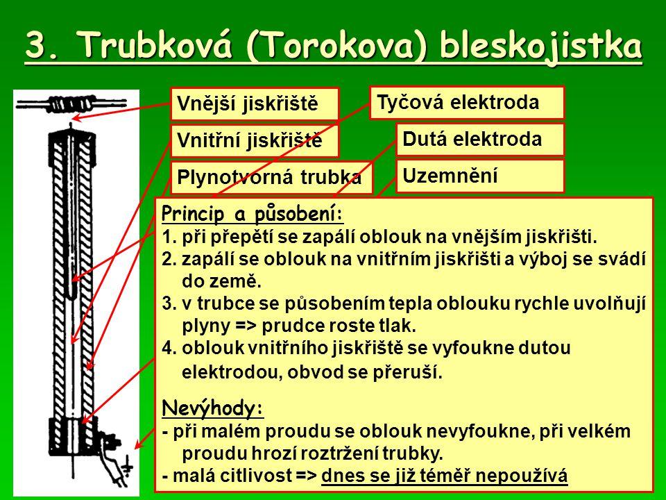 3. Trubková (Torokova) bleskojistka Vnější jiskřiště Vnitřní jiskřiště Plynotvorná trubka Tyčová elektroda Dutá elektroda Uzemnění Princip a působení: