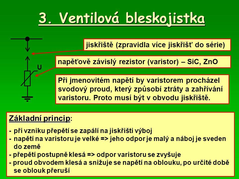 3. Ventilová bleskojistka U jiskřiště (zpravidla více jiskřišť do série) napěťově závislý rezistor (varistor) – SiC, ZnO Při jmenovitém napětí by vari
