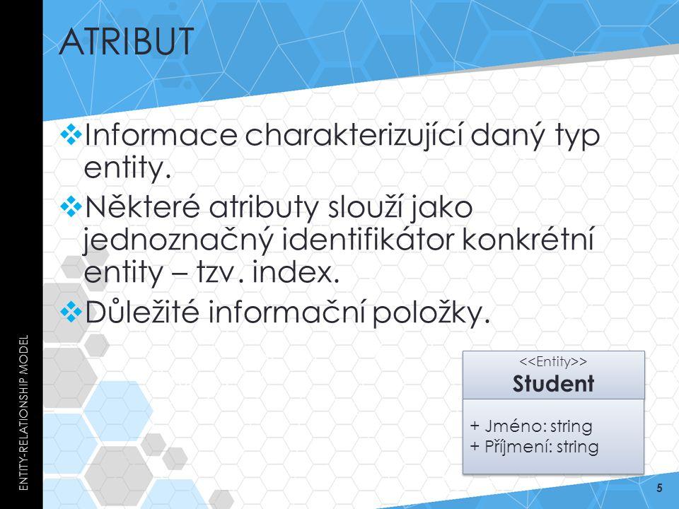ATRIBUT  Informace charakterizující daný typ entity.  Některé atributy slouží jako jednoznačný identifikátor konkrétní entity – tzv. index.  Důleži