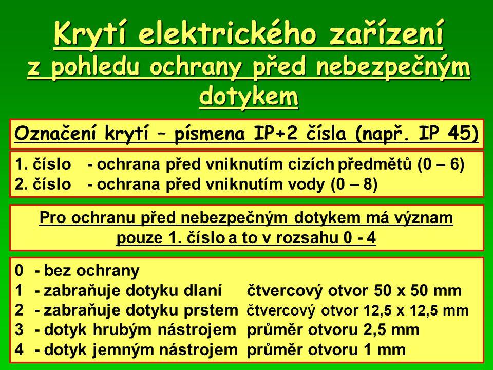 Krytí elektrického zařízení z pohledu ochrany před nebezpečným dotykem Označení krytí – písmena IP+2 čísla (např.