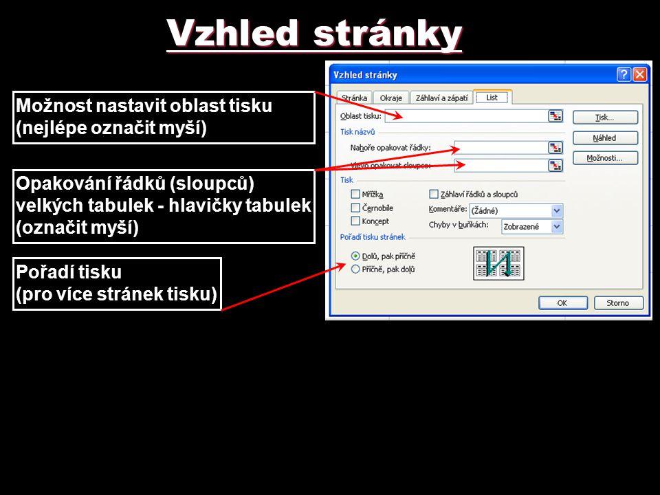 Vzhled stránky Možnost nastavit oblast tisku (nejlépe označit myší) Opakování řádků (sloupců) velkých tabulek - hlavičky tabulek (označit myší) Pořadí