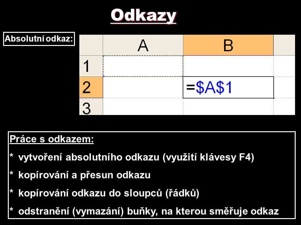 Odkazy Absolutní odkaz: Práce s odkazem: *vytvoření absolutního odkazu (využití klávesy F4) *kopírování a přesun odkazu *kopírování odkazu do sloupců
