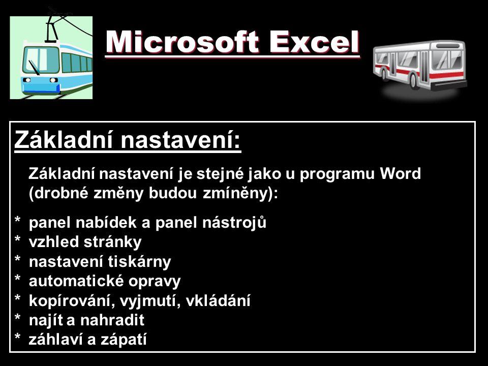 Microsoft Excel Základní nastavení: Základní nastavení je stejné jako u programu Word (drobné změny budou zmíněny): *panel nabídek a panel nástrojů *v