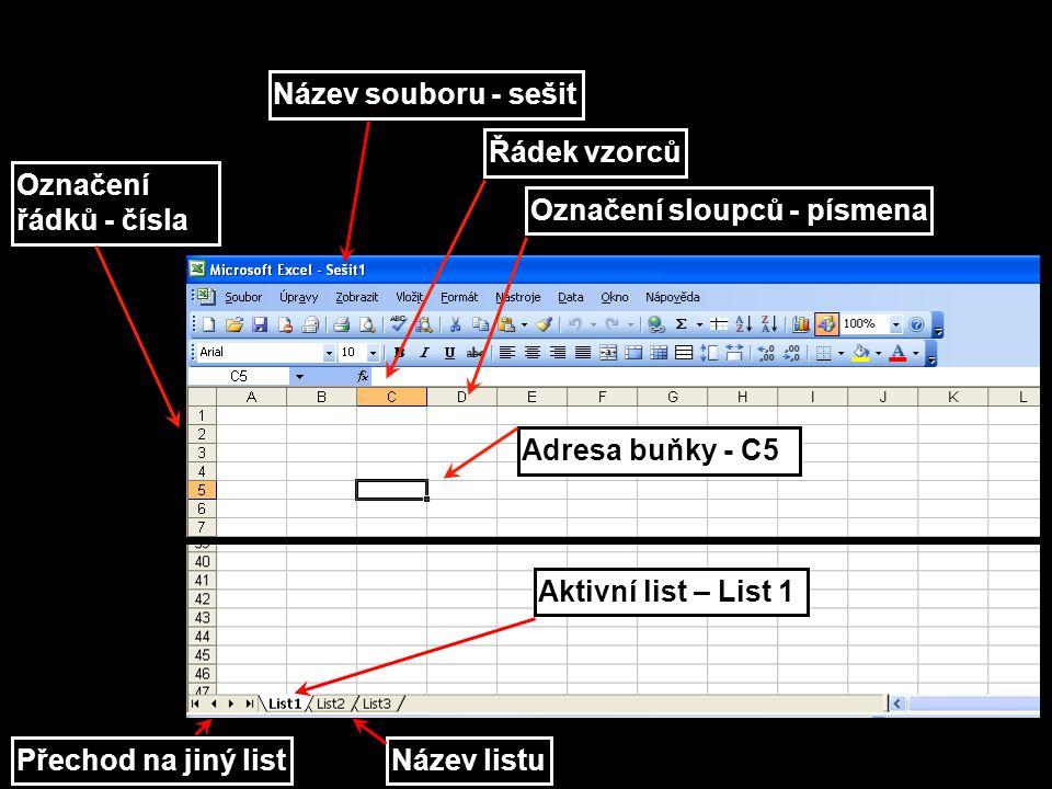 Název souboru - sešit Označení sloupců - písmena Označení řádků - čísla Název listu Adresa buňky - C5 Přechod na jiný list Aktivní list – List 1 Řádek