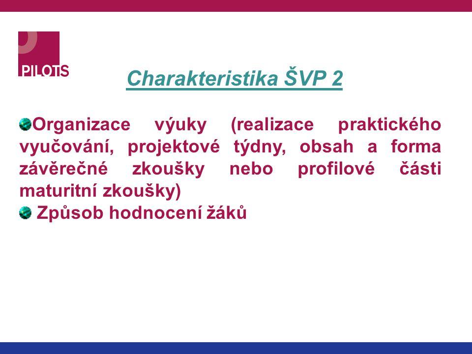 Charakteristika ŠVP 2 Organizace výuky (realizace praktického vyučování, projektové týdny, obsah a forma závěrečné zkoušky nebo profilové části maturi