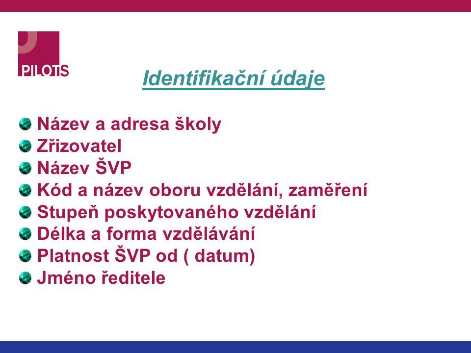 Identifikační údaje Název a adresa školy Zřizovatel Název ŠVP Kód a název oboru vzdělání, zaměření Stupeň poskytovaného vzdělání Délka a forma vzděláv