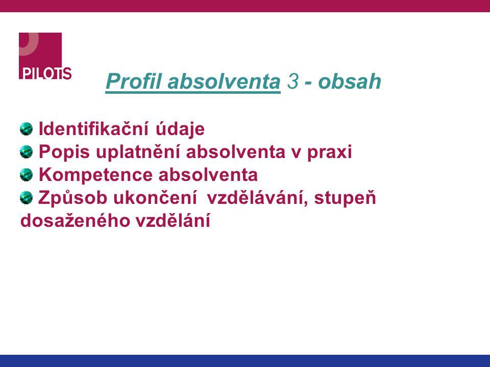 Profil absolventa 3 - obsah Identifikační údaje Popis uplatnění absolventa v praxi Kompetence absolventa Způsob ukončení vzdělávání, stupeň dosaženého