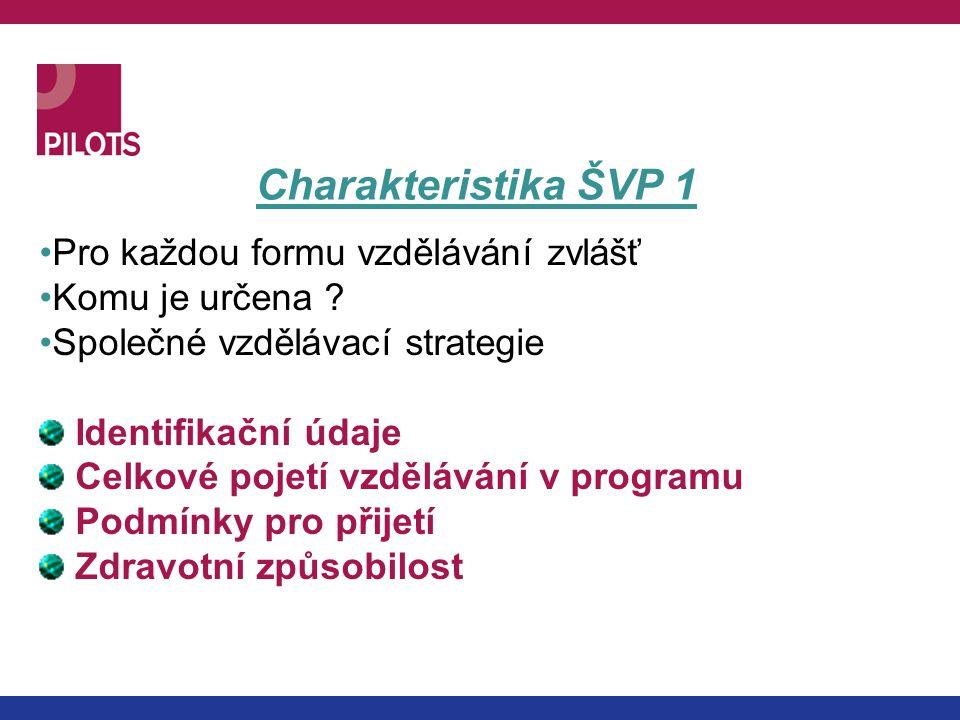 Charakteristika ŠVP 1 Pro každou formu vzdělávání zvlášť Komu je určena ? Společné vzdělávací strategie Identifikační údaje Celkové pojetí vzdělávání