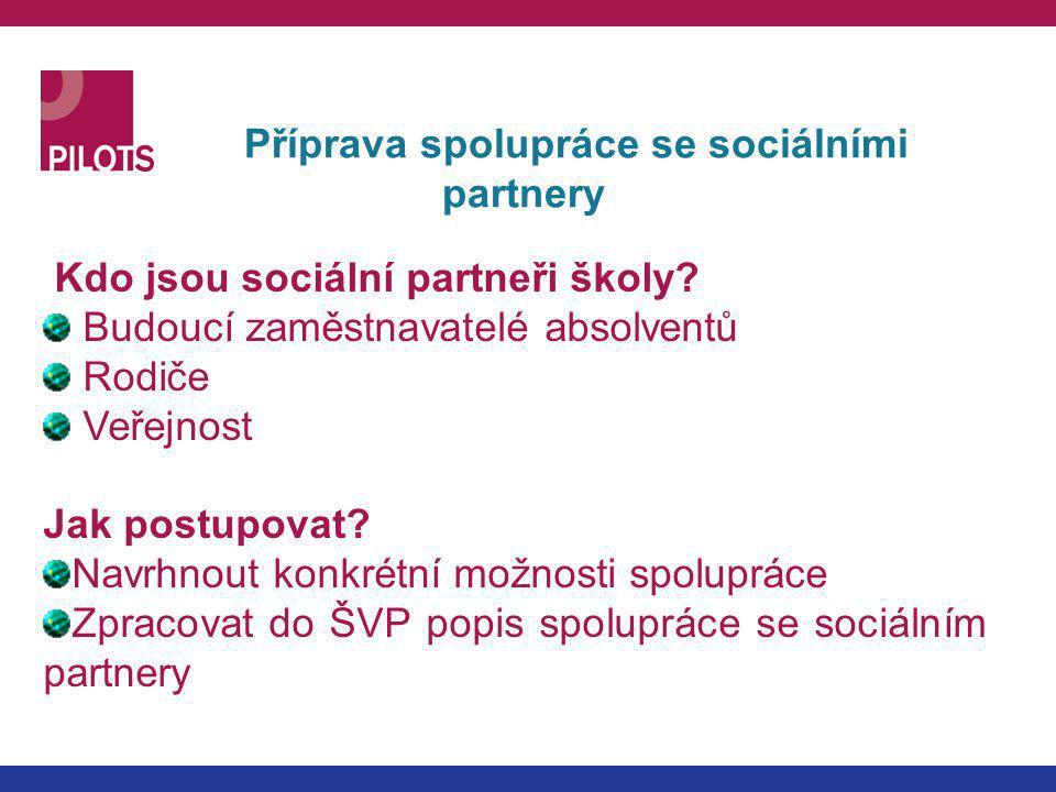 Příprava spolupráce se sociálními partnery Kdo jsou sociální partneři školy? Budoucí zaměstnavatelé absolventů Rodiče Veřejnost Jak postupovat? Navrhn