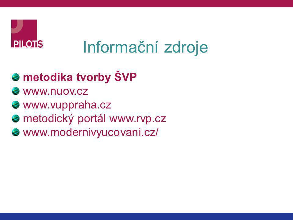 Informační zdroje metodika tvorby ŠVP www.nuov.cz www.vuppraha.cz metodický portál www.rvp.cz www.modernivyucovani.cz/