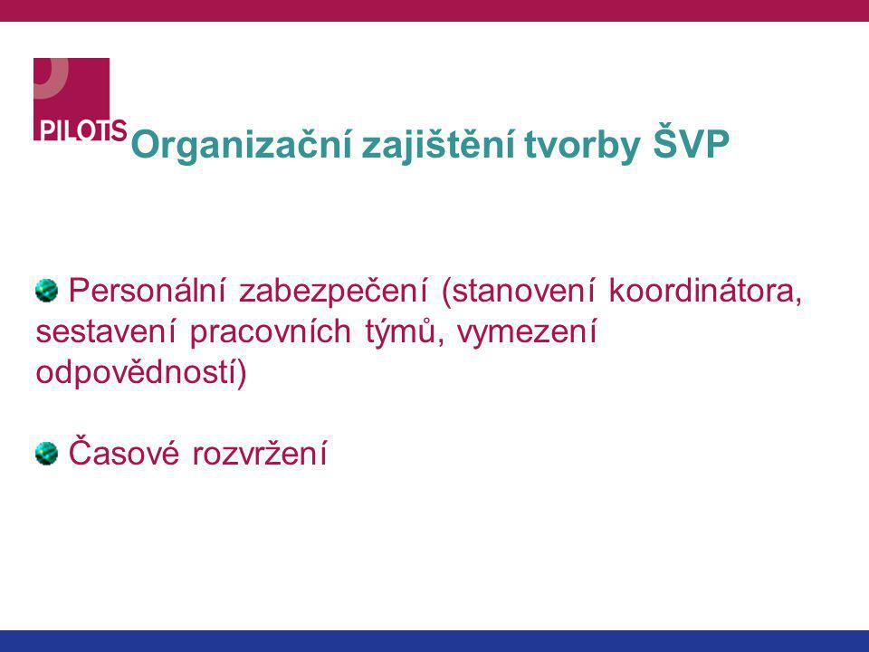 Organizační zajištění tvorby ŠVP Personální zabezpečení (stanovení koordinátora, sestavení pracovních týmů, vymezení odpovědností) Časové rozvržení