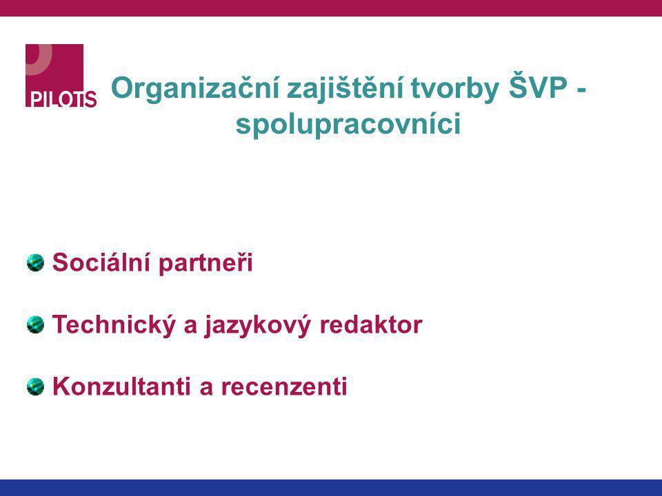 Organizační zajištění tvorby ŠVP - spolupracovníci Sociální partneři Technický a jazykový redaktor Konzultanti a recenzenti