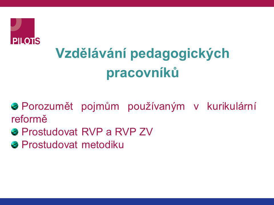 Vzdělávání pedagogických pracovníků Porozumět pojmům používaným v kurikulární reformě Prostudovat RVP a RVP ZV Prostudovat metodiku
