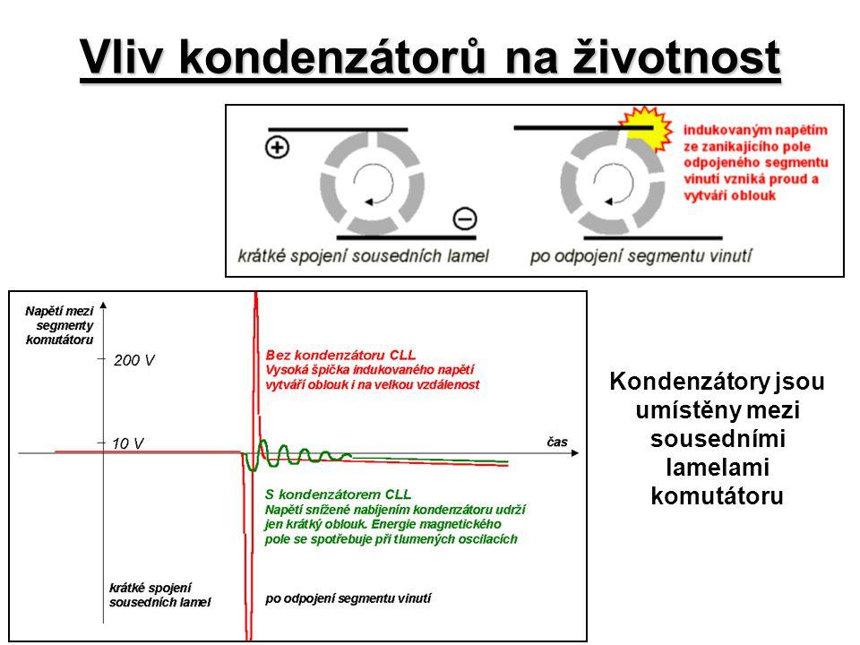 Vliv kondenzátorů na životnost Kondenzátory jsou umístěny mezi sousedními lamelami komutátoru