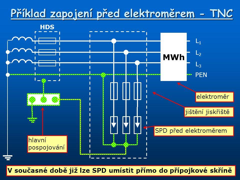 L1L1 PEN L3L3 L2L2 HDS MWh Příklad zapojení před elektroměrem - TNC SPD před elektroměrem jištění jiskřiště hlavní pospojování elektroměr V současné d