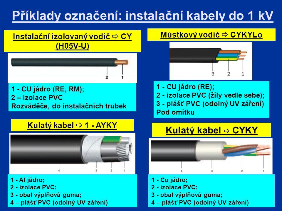 Příklady označení: instalační kabely do 1 kV Instalační izolovaný vodič  CY (H05V-U) Můstkový vodič  CYKYLo Kulatý kabel  1 - AYKY Kulatý kabel  CYKY 1 - CU jádro (RE, RM); 2 – izolace PVC Rozváděče, do instalačních trubek 1 - CU jádro (RE); 2 - izolace PVC (žíly vedle sebe); 3 - plášť PVC (odolný UV záření) Pod omítku 1 - Al jádro; 2 - izolace PVC; 3 - obal výplňová guma; 4 – plášť PVC (odolný UV záření) 1 - Cu jádro; 2 - izolace PVC; 3 - obal výplňová guma; 4 – plášť PVC (odolný UV záření)