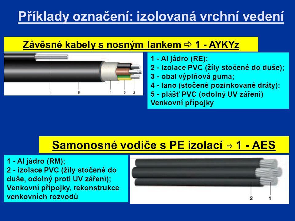 Příklady označení: izolovaná vrchní vedení Závěsné kabely s nosným lankem  1 - AYKYz 1 - Al jádro (RE); 2 - izolace PVC (žíly stočené do duše); 3 - obal výplňová guma; 4 - lano (stočené pozinkované dráty); 5 - plášť PVC (odolný UV záření) Venkovní přípojky Samonosné vodiče s PE izolací  1 - AES 1 - Al jádro (RM); 2 - izolace PVC (žíly stočené do duše, odolný proti UV záření); Venkovní přípojky, rekonstrukce venkovních rozvodů
