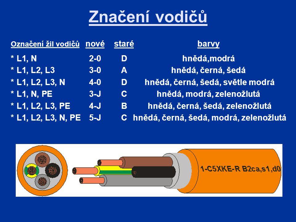 Značení vodičů Označení žil vodičů novéstarébarvy *L1, N2-0Dhnědá,modrá *L1, L2, L33-0Ahnědá, černá, šedá *L1, L2, L3, N4-0D hnědá, černá, šedá, světle modrá *L1, N, PE3-JChnědá, modrá, zelenožlutá *L1, L2, L3, PE4-JB hnědá, černá, šedá, zelenožlutá *L1, L2, L3, N, PE5-JC hnědá, černá, šedá, modrá, zelenožlutá