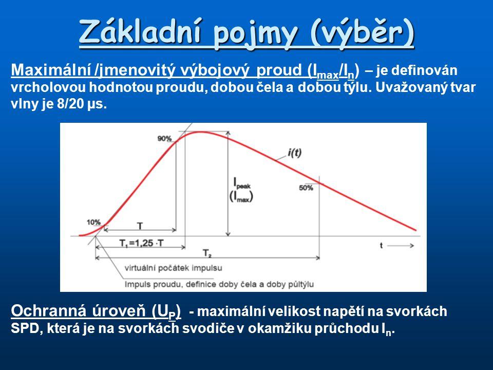 Základní pojmy (výběr) Maximální /jmenovitý výbojový proud (I max /I n ) – je definován vrcholovou hodnotou proudu, dobou čela a dobou týlu. Uvažovaný