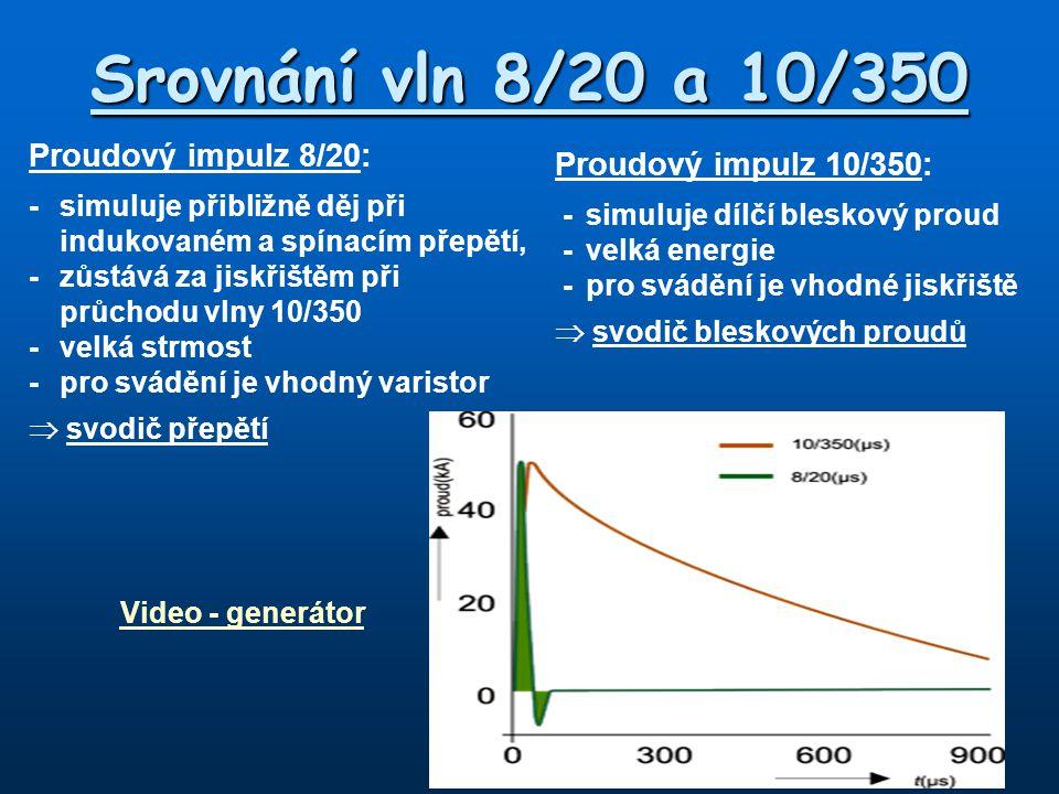 Proudový impulz 10/350: -simuluje dílčí bleskový proud -velká energie -pro svádění je vhodné jiskřiště  svodič bleskových proudů Video - generátor Sr