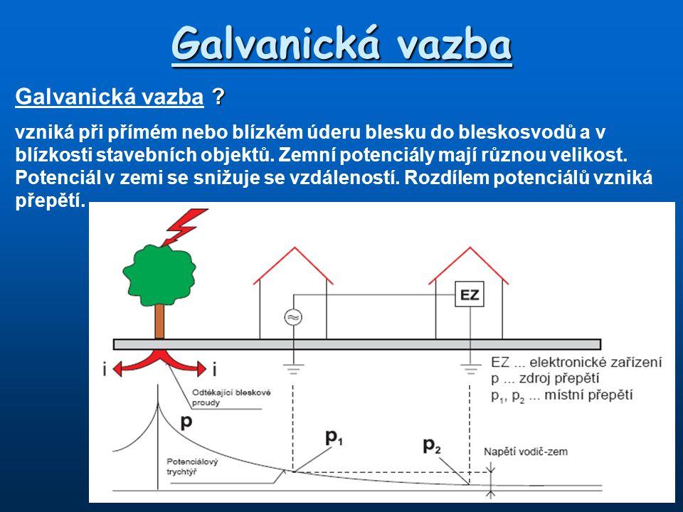 Galvanická vazba ? Galvanická vazba ? vzniká při přímém nebo blízkém úderu blesku do bleskosvodů a v blízkosti stavebních objektů. Zemní potenciály ma