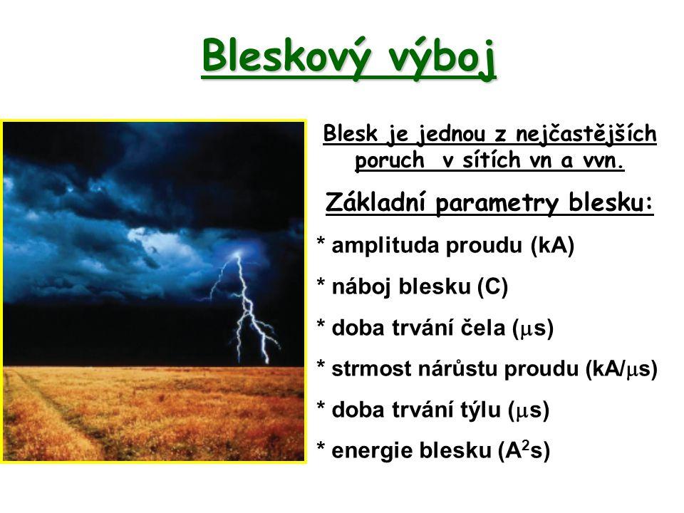 Bleskový výboj Blesk je jednou z nejčastějších poruch v sítích vn a vvn. Základní parametry blesku: * amplituda proudu (kA) * náboj blesku (C) * doba