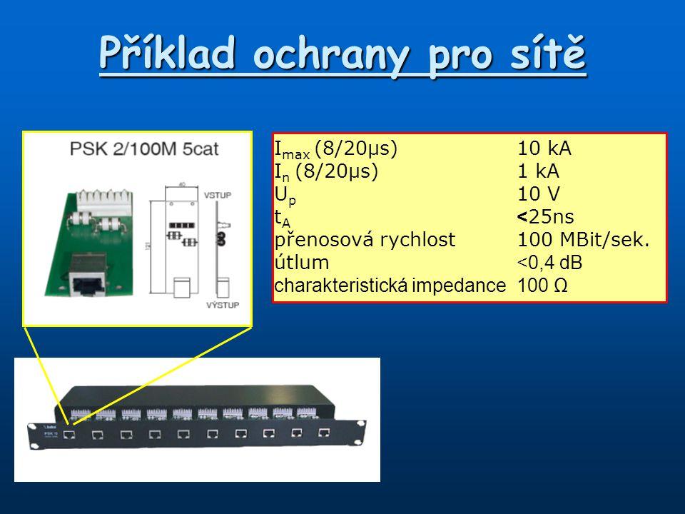 Příklad ochrany pro sítě I max (8/20µs)10 kA I n (8/20µs)1 kA U p 10 V t A < 25ns přenosová rychlost100 MBit/sek. útlum <0,4 dB charakteristická imped