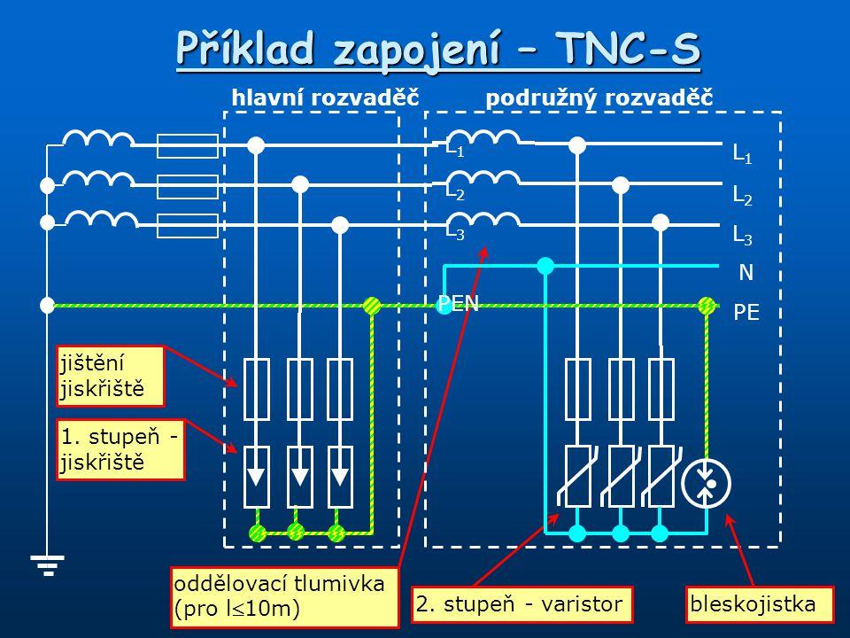Příklad zapojení – TNC-S 1. stupeň - jiskřiště jištění jiskřiště oddělovací tlumivka (pro l10m) 2. stupeň - varistor hlavní rozvaděčpodružný rozvaděč