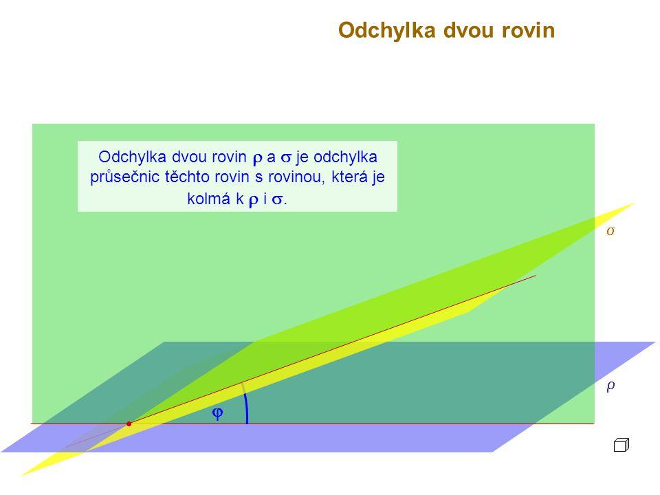 Odchylka dvou rovin  a  je odchylka průsečnic těchto rovin s rovinou, která je kolmá k  i .  