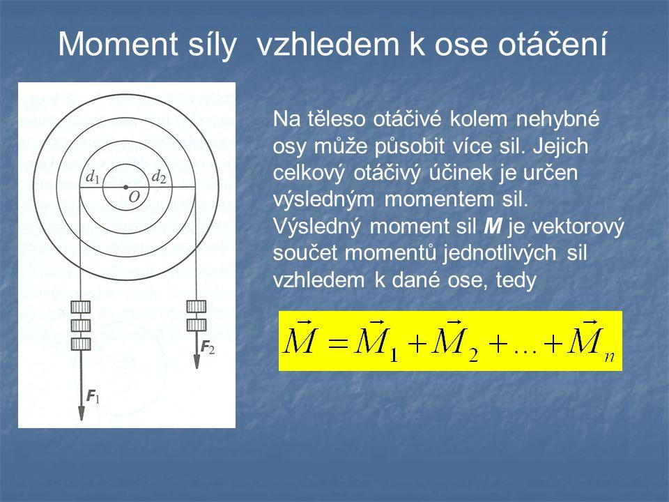 Moment síly vzhledem k ose otáčení Platí momentová věta: Otáčivé účinky sil působících na tuhé těleso otáčivé kolem nehybné osy se navzájem ruší, je-li vektorový součet momentů všech sil vzhledem k ose otáčení nulový: