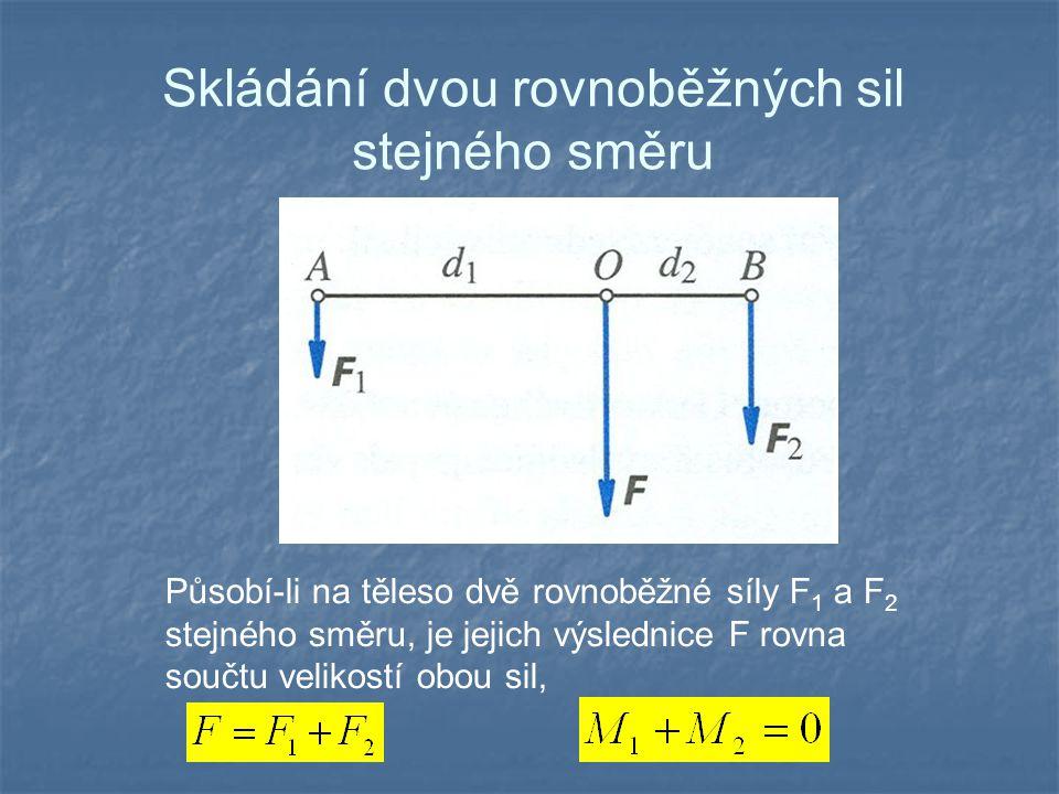 Skládání dvou rovnoběžných sil opačného směru Působí-li na těleso dvě rovnoběžné síly F 1 a F 2 opačného směru, je jejich výslednice F rovna rozdílu velikostí obou sil,