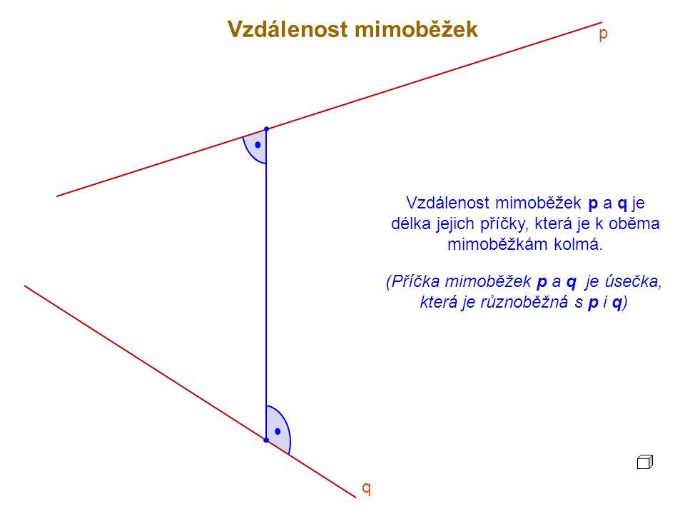 Vzdálenost mimoběžek p a q je délka jejich příčky, která je k oběma mimoběžkám kolmá.