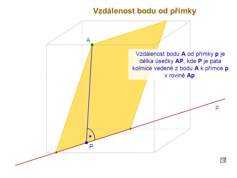 Vzdálenost bodu A od přímky p je délka úsečky AP, kde P je pata kolmice vedené z bodu A k přímce p v rovině Ap. A p P