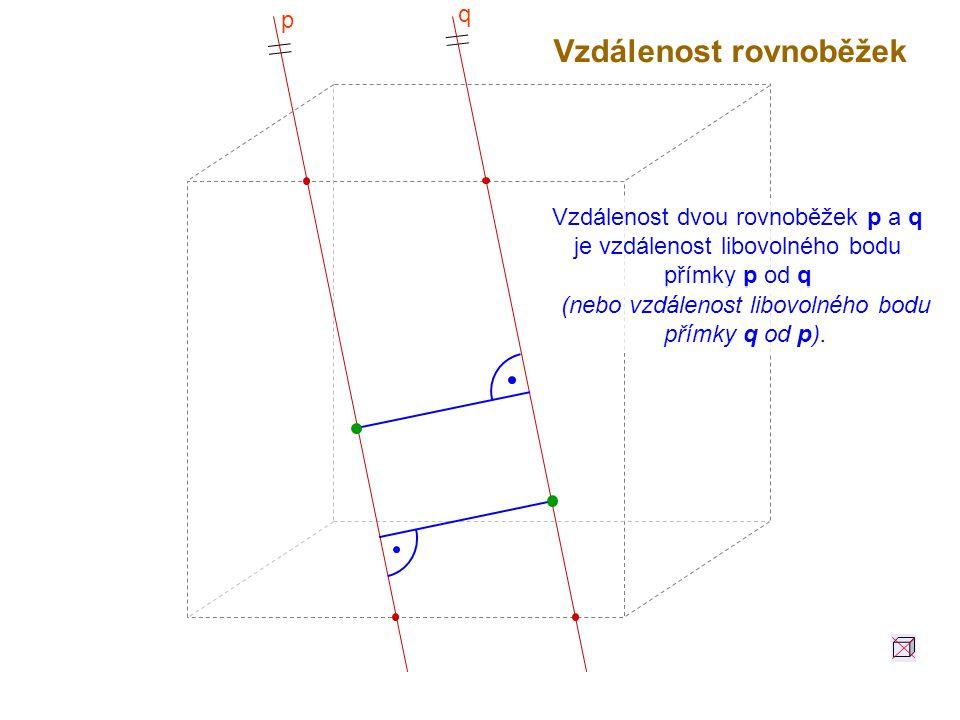 Vzdálenost rovnoběžek Vzdálenost dvou rovnoběžek p a q je vzdálenost libovolného bodu přímky p od q (nebo vzdálenost libovolného bodu přímky q od p).