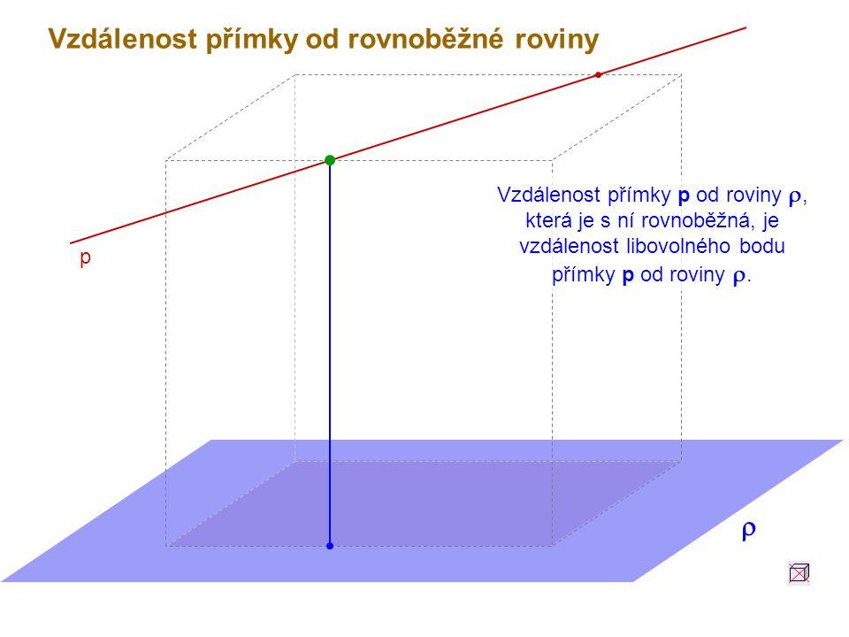 Vzdálenost přímky p od roviny , která je s ní rovnoběžná, je vzdálenost libovolného bodu přímky p od roviny .
