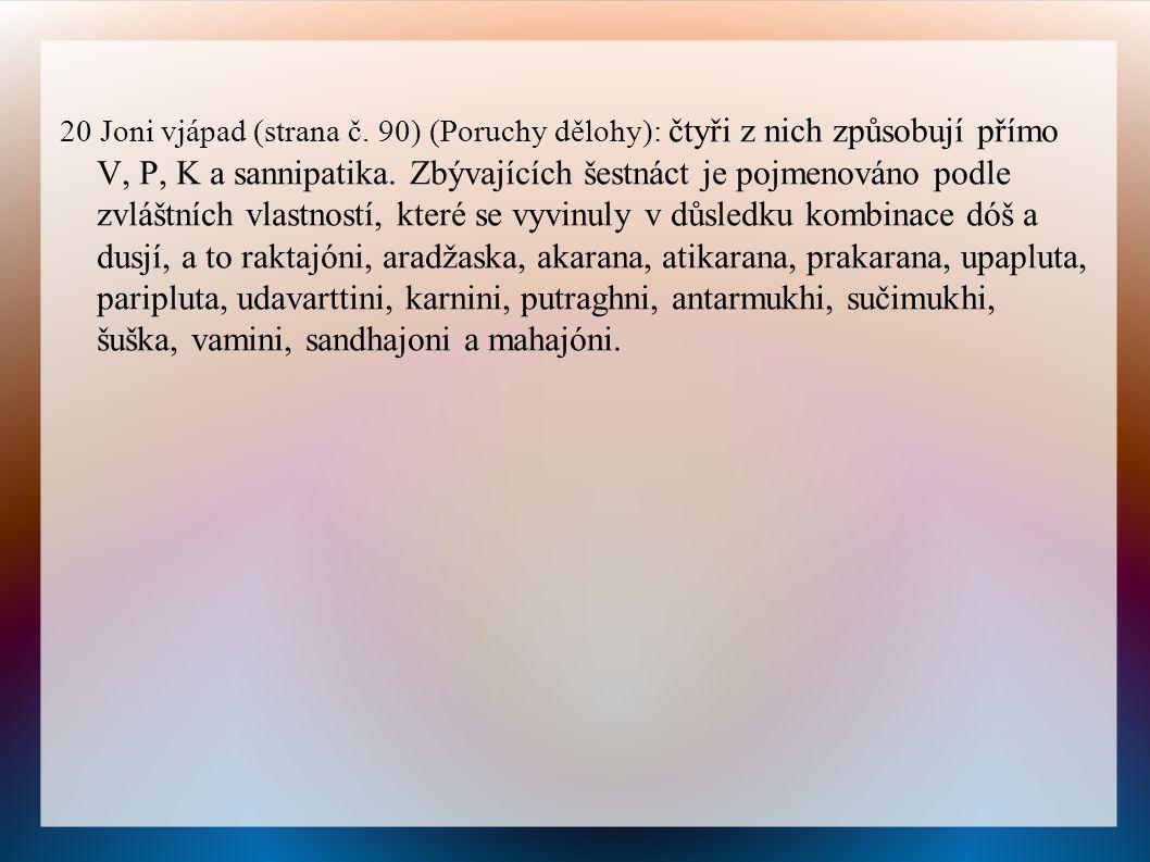 20 Joni vjápad (strana č.90) (Poruchy dělohy): čtyři z nich způsobují přímo V, P, K a sannipatika.