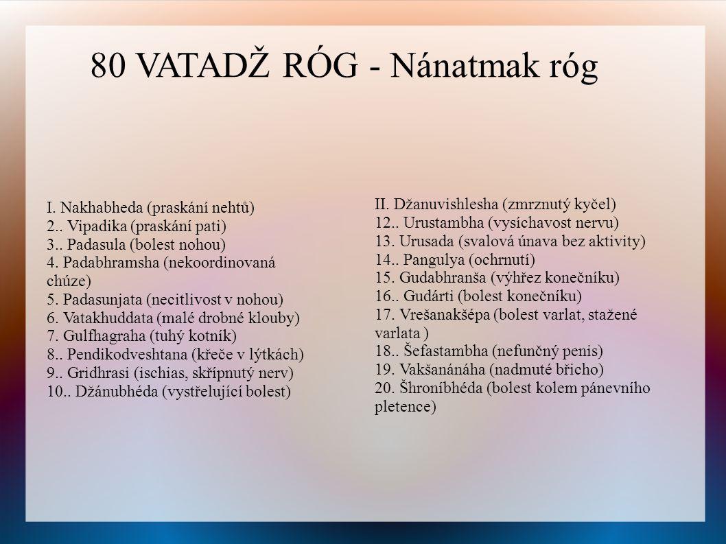 I.Nakhabheda (praskání nehtů) 2.. Vipadika (praskání pati) 3..