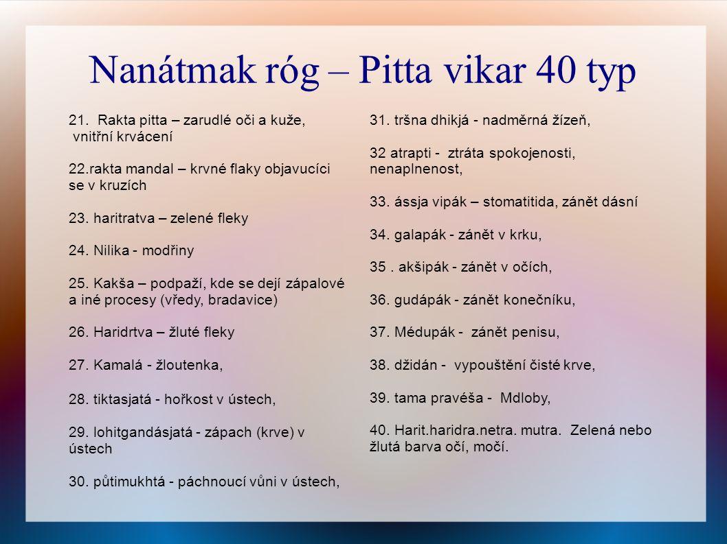 31.tršna dhikjá - nadměrná žízeň, 32 atrapti - ztráta spokojenosti, nenaplnenost, 33.