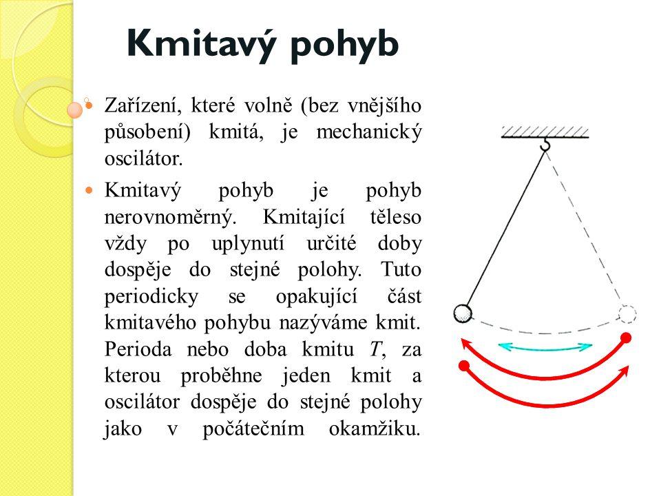 Zařízení, které volně (bez vnějšího působení) kmitá, je mechanický oscilátor. Kmitavý pohyb je pohyb nerovnoměrný. Kmitající těleso vždy po uplynutí u