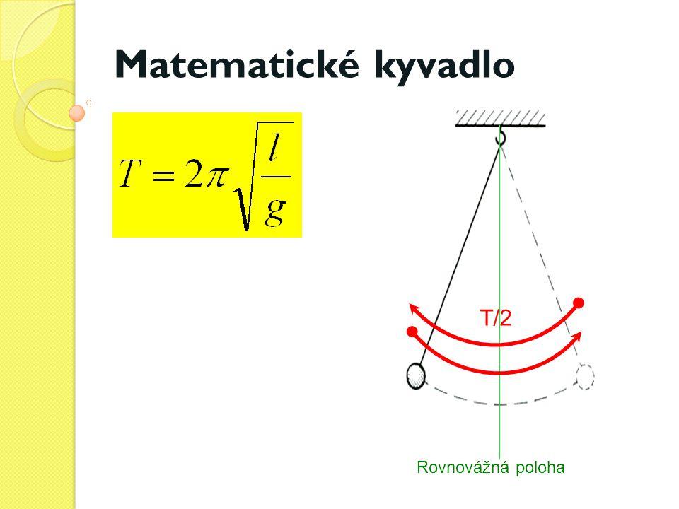 Zpracování měření Délka je pro všech pět měření stejná Doba deseti period - čas od prvního do jednadvacátého průchodu rovnovážnou polohou Doba jednoho kmitu -výsledek z předchozího sloupce vydělený deseti.
